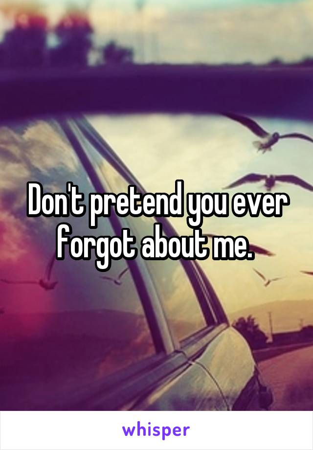 Don't pretend you ever forgot about me.