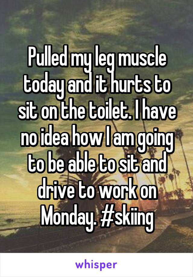 Pulled my leg muscle today and it hurts to sit on the toilet. I have no idea how I am going to be able to sit and drive to work on Monday. #skiing