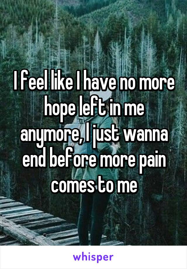 I feel like I have no more hope left in me anymore, I just wanna end before more pain comes to me