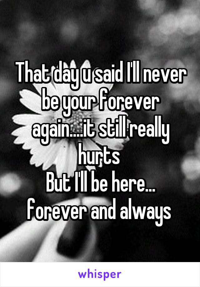 That day u said I'll never be your forever again....it still really hurts  But I'll be here... forever and always