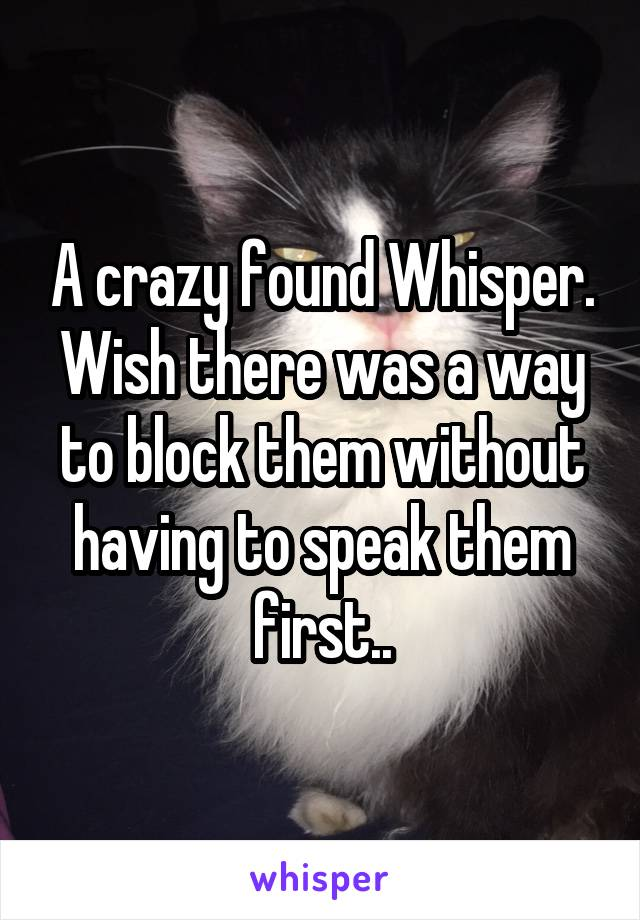 A crazy found Whisper. Wish there was a way to block them without having to speak them first..