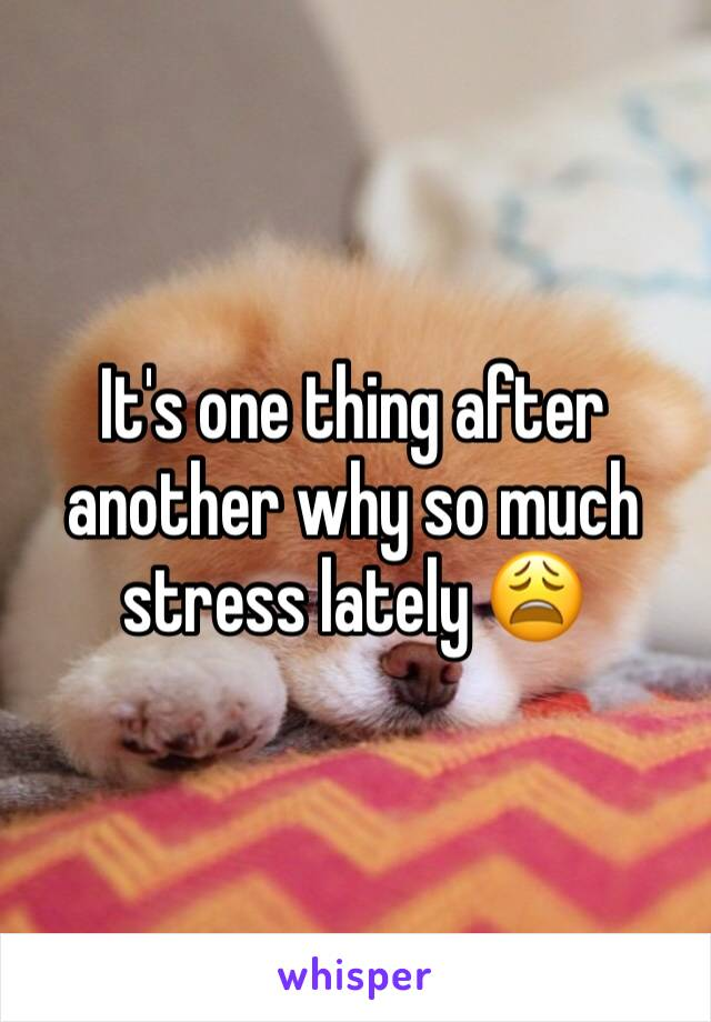 It's one thing after another why so much stress lately 😩