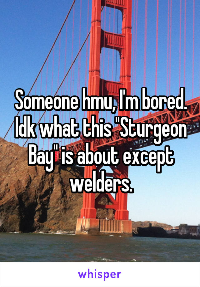 """Someone hmu, I'm bored. Idk what this """"Sturgeon Bay"""" is about except welders."""