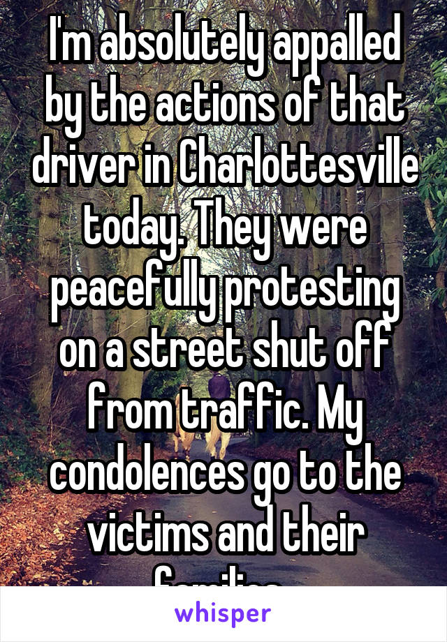 I'm absolutely appalled by the actions of that driver in Charlottesville today. They were peacefully protesting on a street shut off from traffic. My condolences go to the victims and their families.