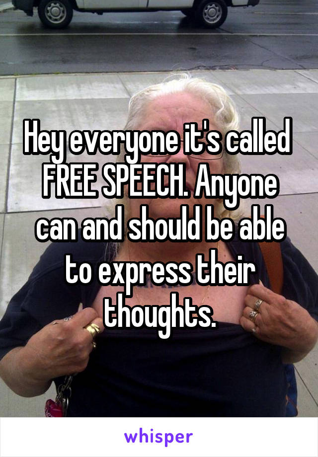 Hey everyone it's called  FREE SPEECH. Anyone can and should be able to express their thoughts.