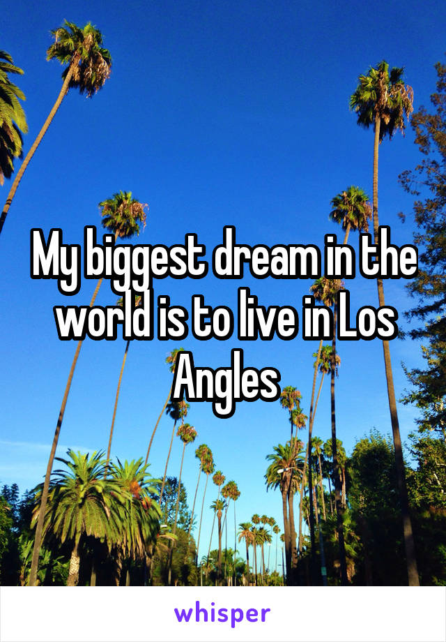 My biggest dream in the world is to live in Los Angles