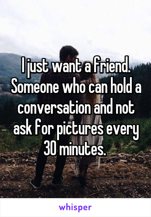 I just want a friend. Someone who can hold a conversation and not ask for pictures every 30 minutes.
