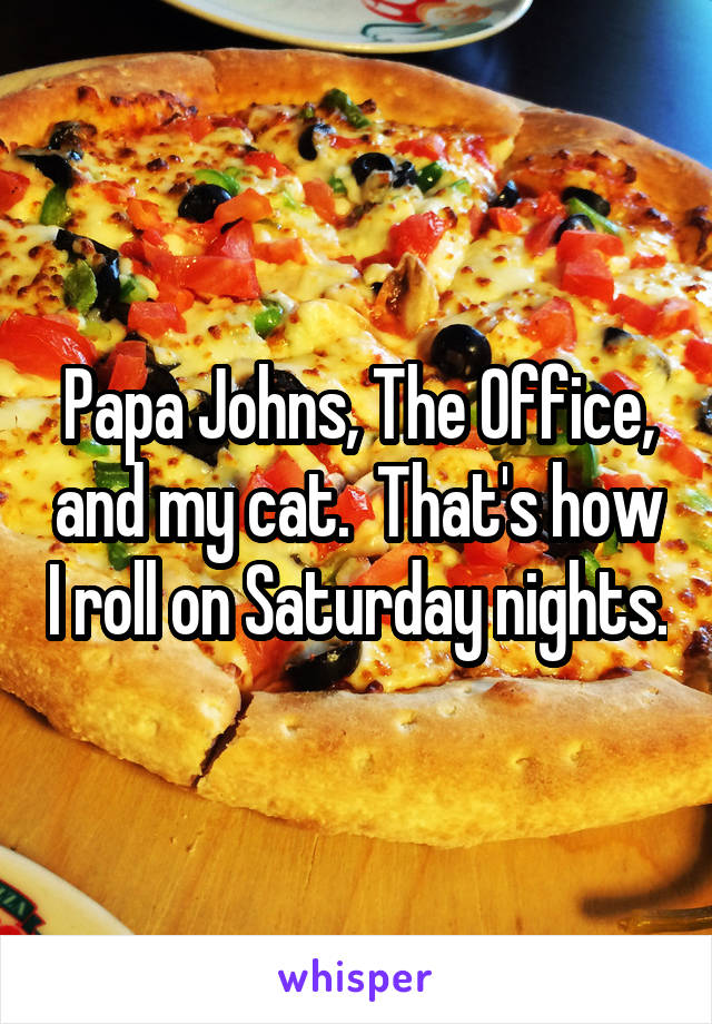 Papa Johns, The Office, and my cat.  That's how I roll on Saturday nights.