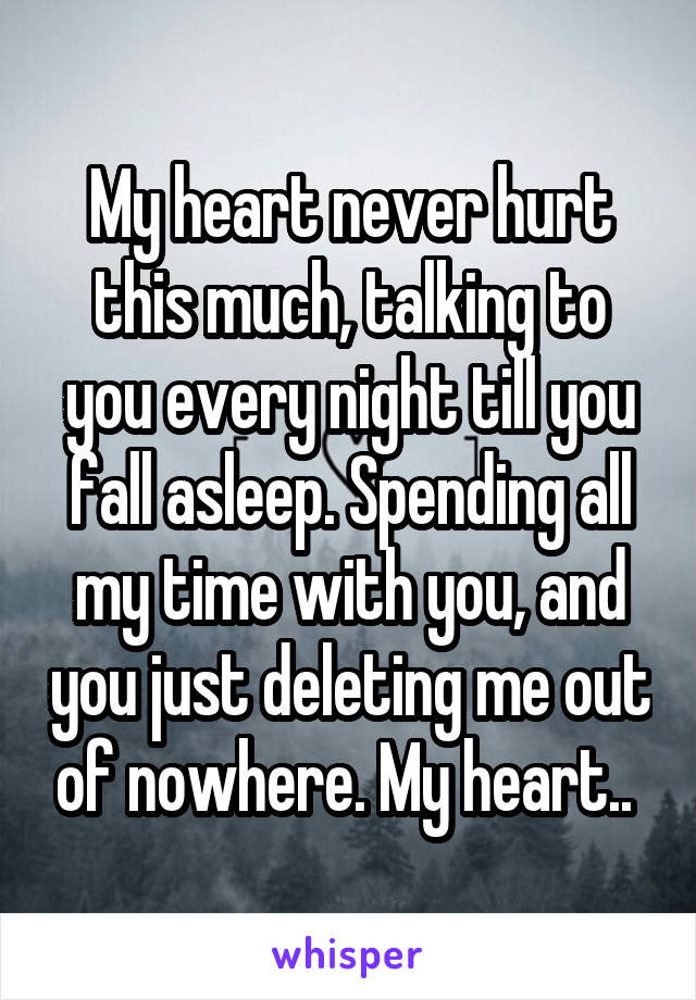 My heart never hurt this much, talking to you every night till you fall asleep. Spending all my time with you, and you just deleting me out of nowhere. My heart..