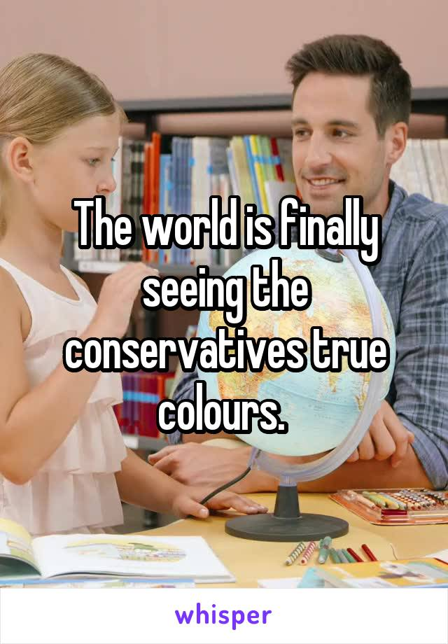 The world is finally seeing the conservatives true colours.