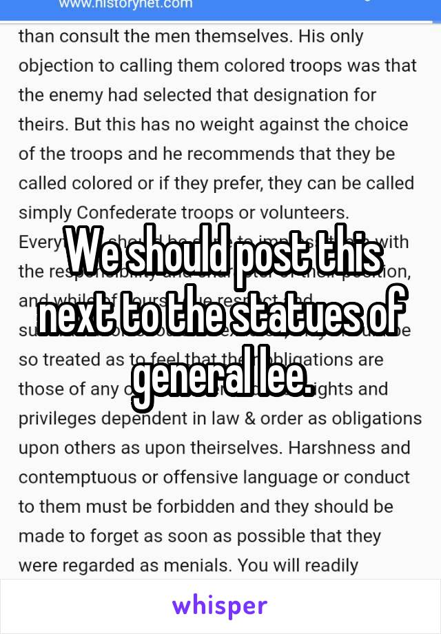 We should post this next to the statues of general lee.