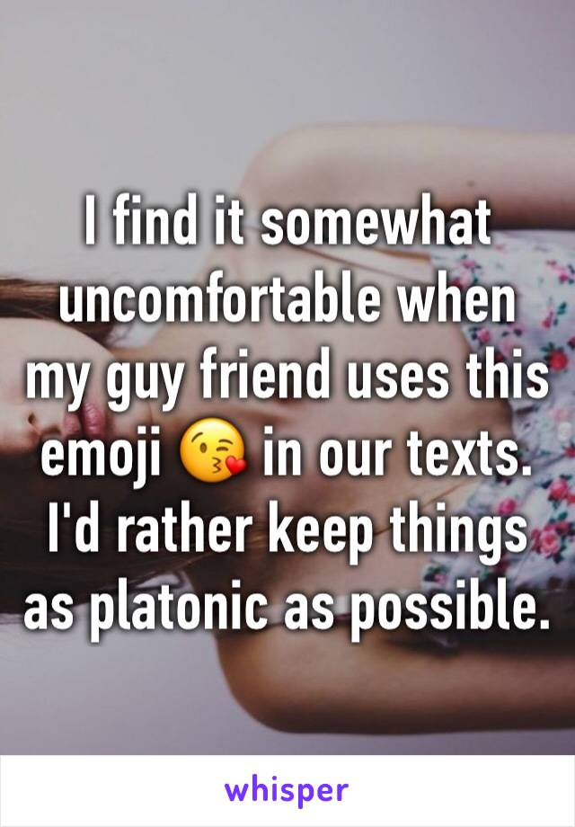 I find it somewhat uncomfortable when my guy friend uses this emoji 😘 in our texts. I'd rather keep things as platonic as possible.