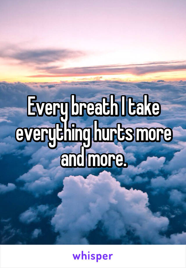 Every breath I take everything hurts more and more.