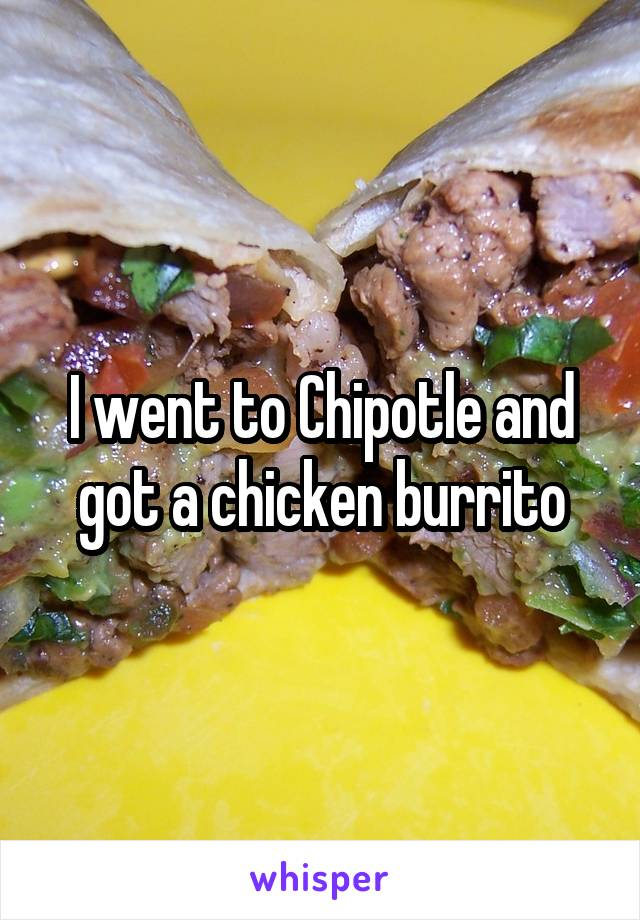 I went to Chipotle and got a chicken burrito