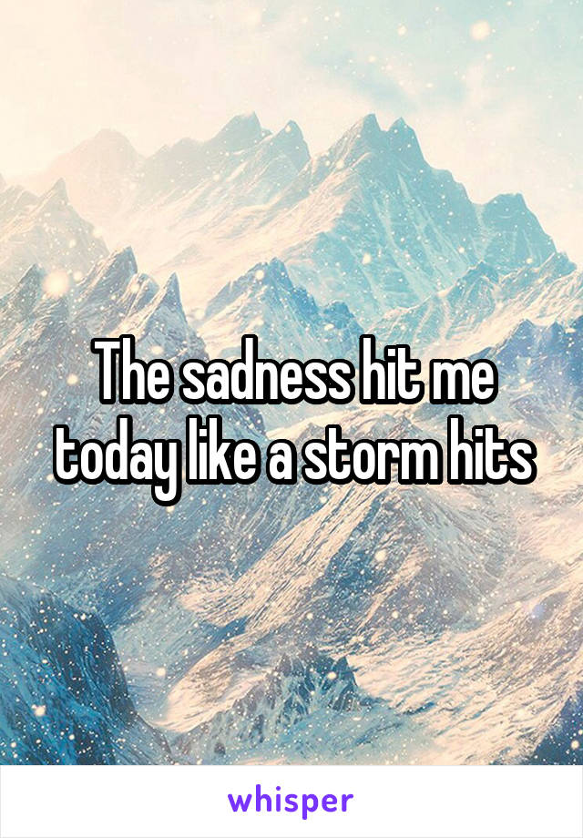 The sadness hit me today like a storm hits