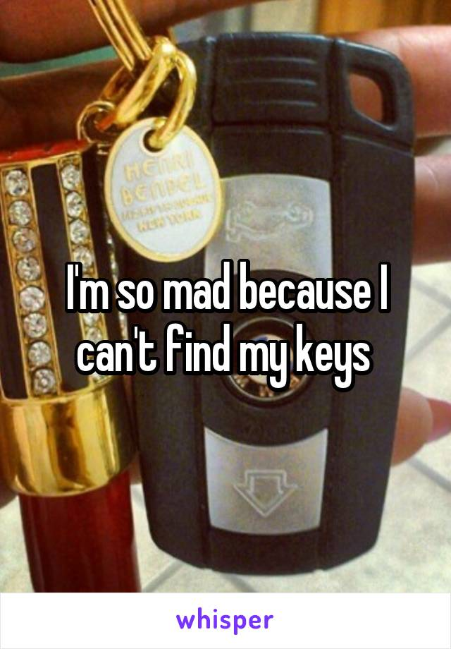 I'm so mad because I can't find my keys