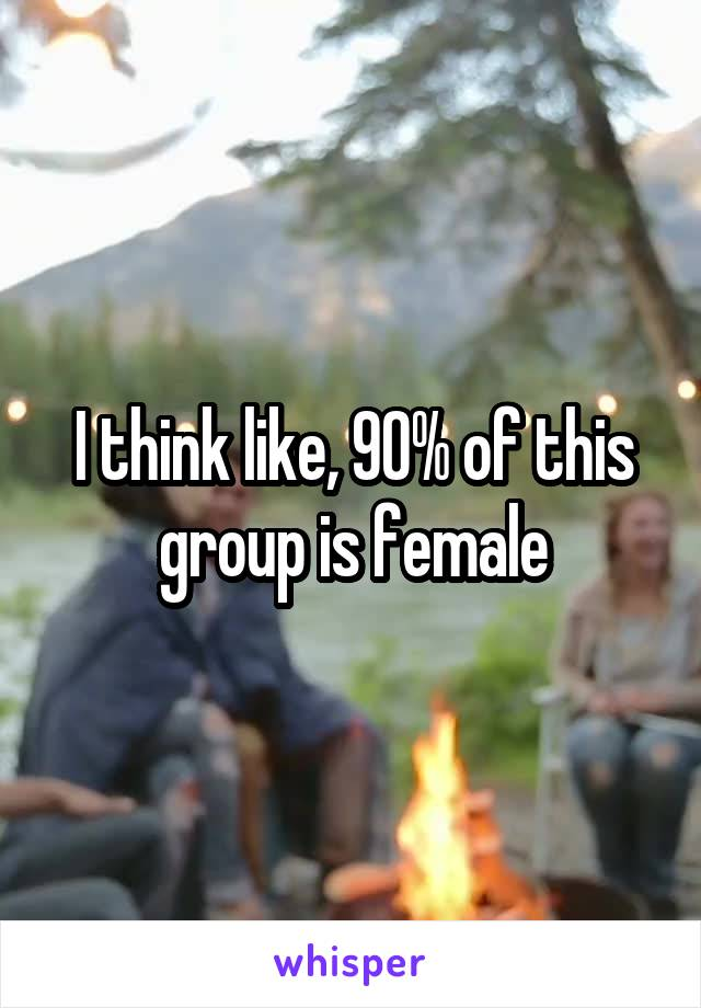 I think like, 90% of this group is female