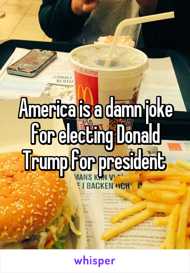 America is a damn joke for electing Donald Trump for president