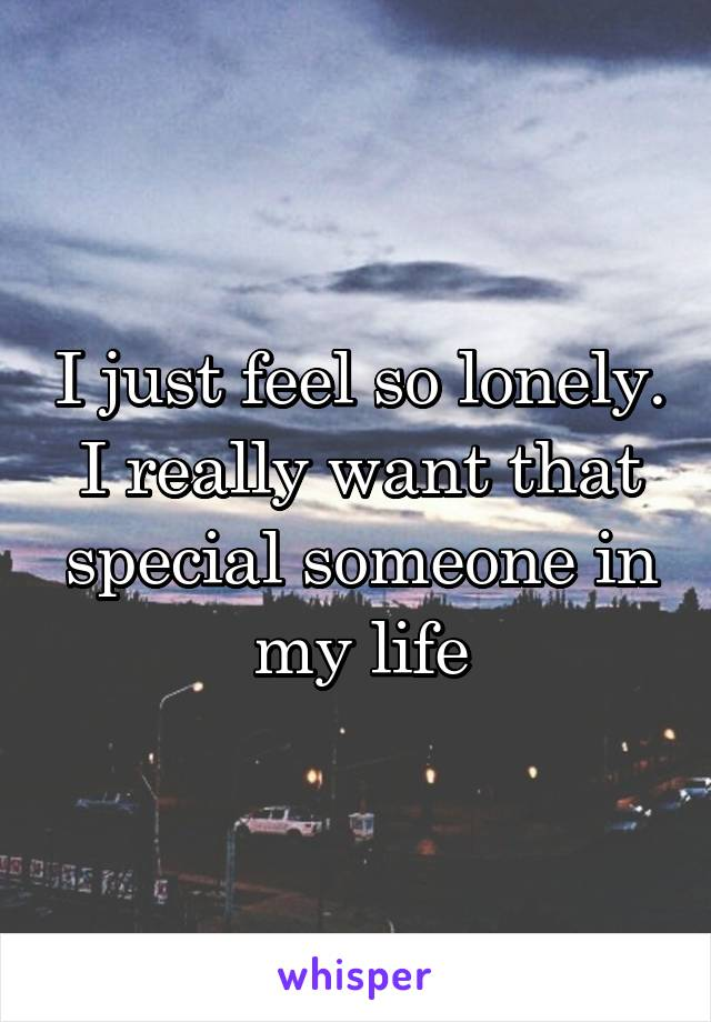 I just feel so lonely. I really want that special someone in my life