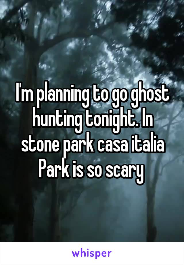 I'm planning to go ghost hunting tonight. In stone park casa italia Park is so scary