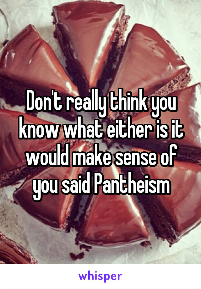 Don't really think you know what either is it would make sense of you said Pantheism