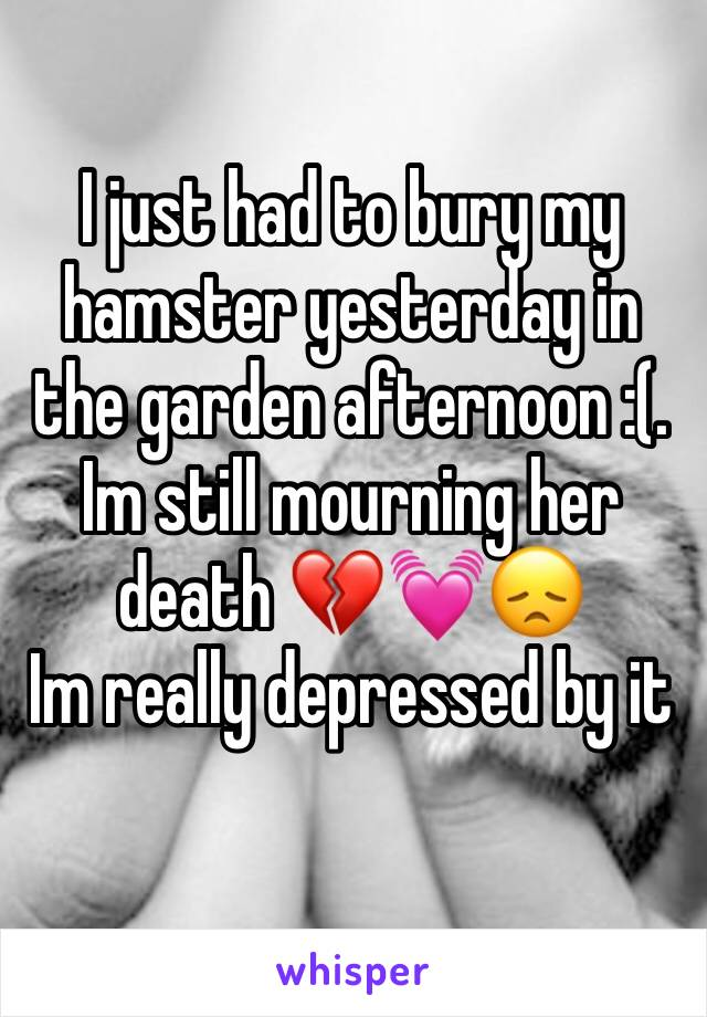 I just had to bury my hamster yesterday in the garden afternoon :(.  Im still mourning her death 💔💓😞 Im really depressed by it