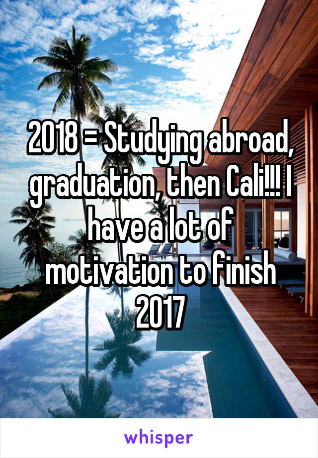 2018 = Studying abroad, graduation, then Cali!!! I have a lot of motivation to finish 2017