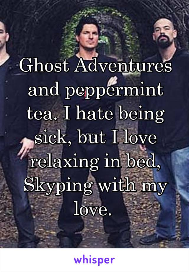 Ghost Adventures and peppermint tea. I hate being sick, but I love relaxing in bed, Skyping with my love.
