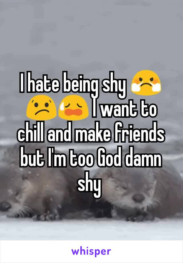 I hate being shy 😤😕😥 I want to chill and make friends but I'm too God damn shy