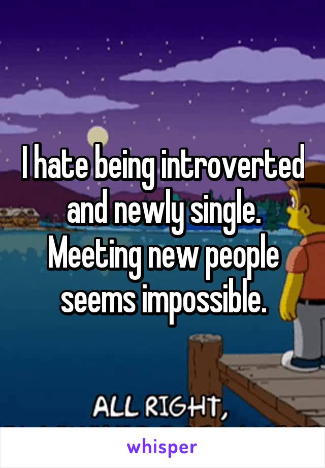 I hate being introverted and newly single. Meeting new people seems impossible.