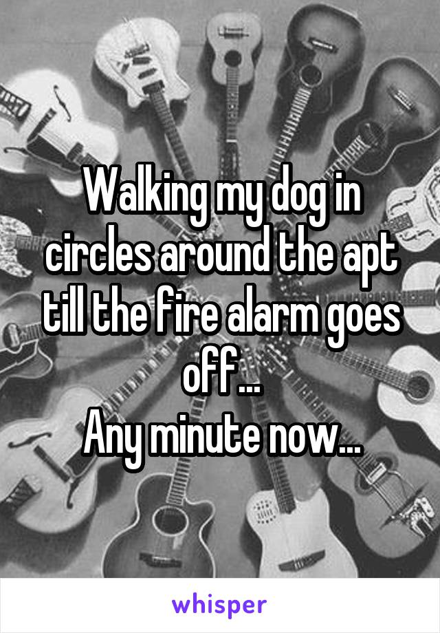 Walking my dog in circles around the apt till the fire alarm goes off... Any minute now...