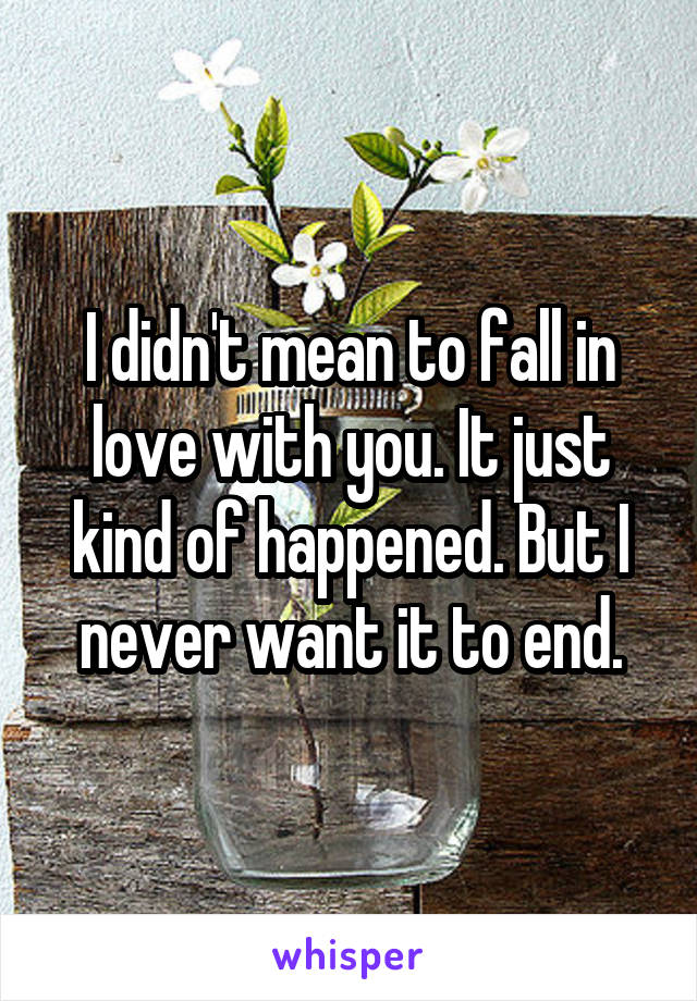 I didn't mean to fall in love with you. It just kind of happened. But I never want it to end.