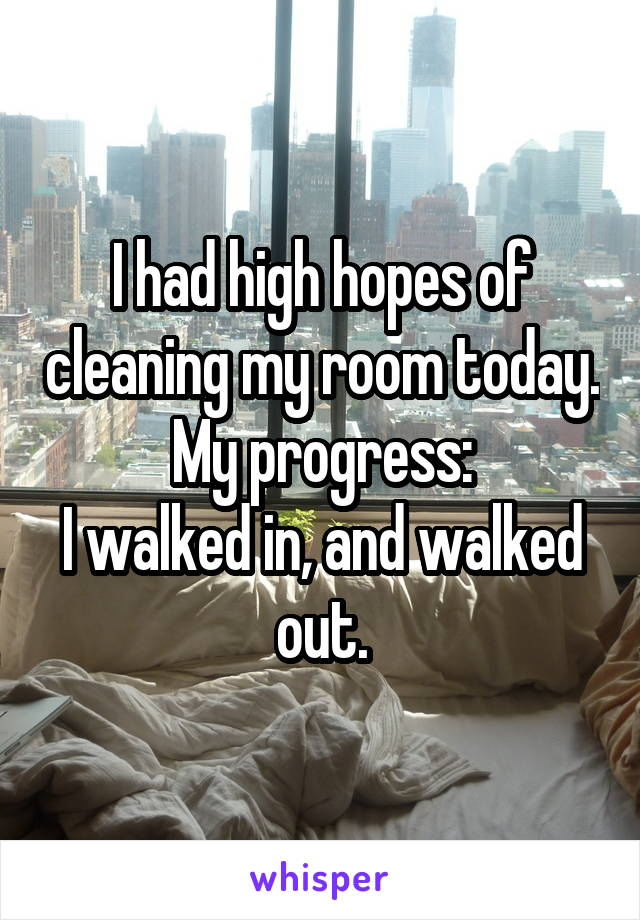 I had high hopes of cleaning my room today. My progress: I walked in, and walked out.