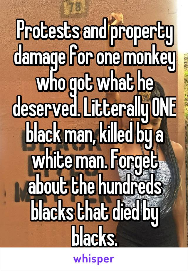 Protests and property damage for one monkey who got what he deserved. Litterally ONE black man, killed by a white man. Forget about the hundreds blacks that died by blacks.