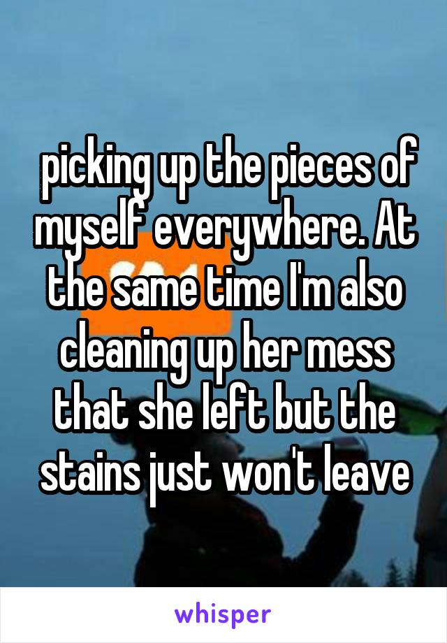 picking up the pieces of myself everywhere. At the same time I'm also cleaning up her mess that she left but the stains just won't leave