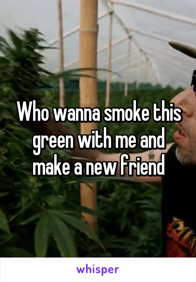 Who wanna smoke this green with me and make a new friend