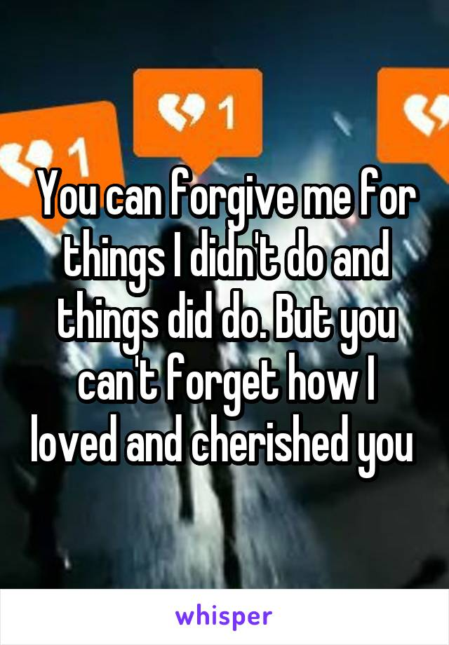 You can forgive me for things I didn't do and things did do. But you can't forget how I loved and cherished you