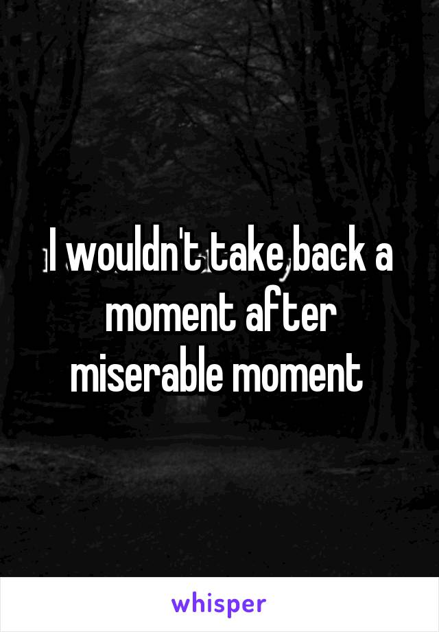 I wouldn't take back a moment after miserable moment