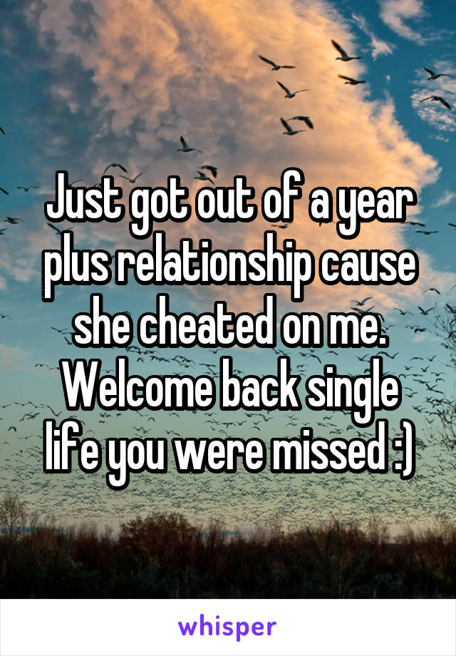 Just got out of a year plus relationship cause she cheated on me. Welcome back single life you were missed :)