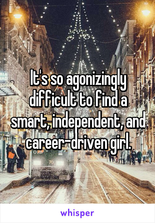 It's so agonizingly difficult to find a smart, independent, and career-driven girl.