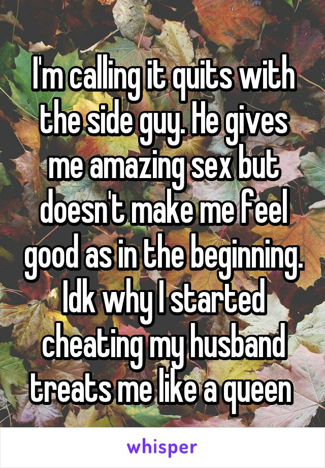 I'm calling it quits with the side guy. He gives me amazing sex but doesn't make me feel good as in the beginning. Idk why I started cheating my husband treats me like a queen