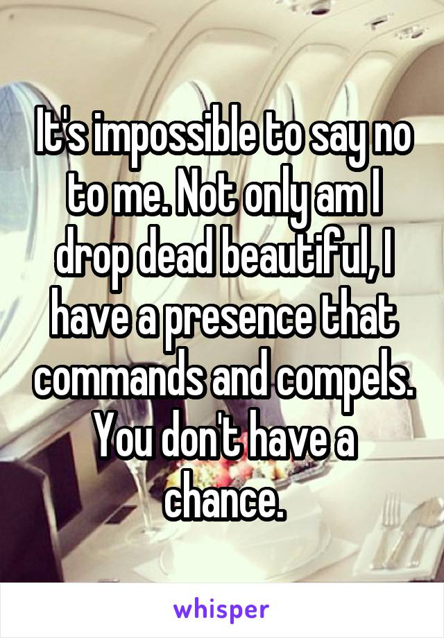 It's impossible to say no to me. Not only am I drop dead beautiful, I have a presence that commands and compels. You don't have a chance.