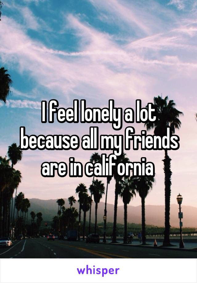 I feel lonely a lot because all my friends are in california