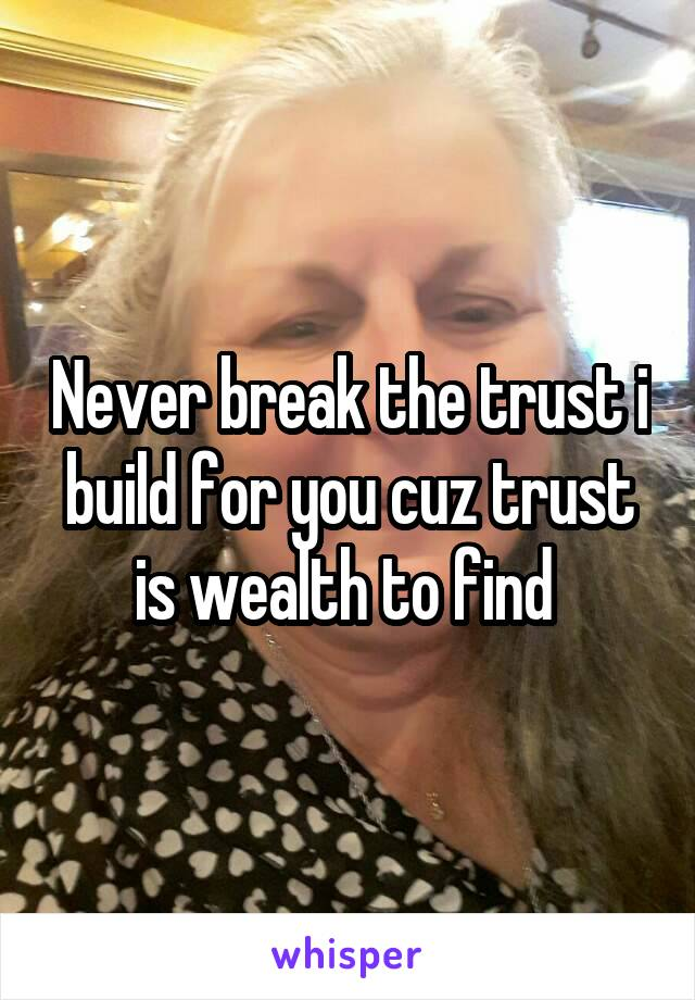 Never break the trust i build for you cuz trust is wealth to find